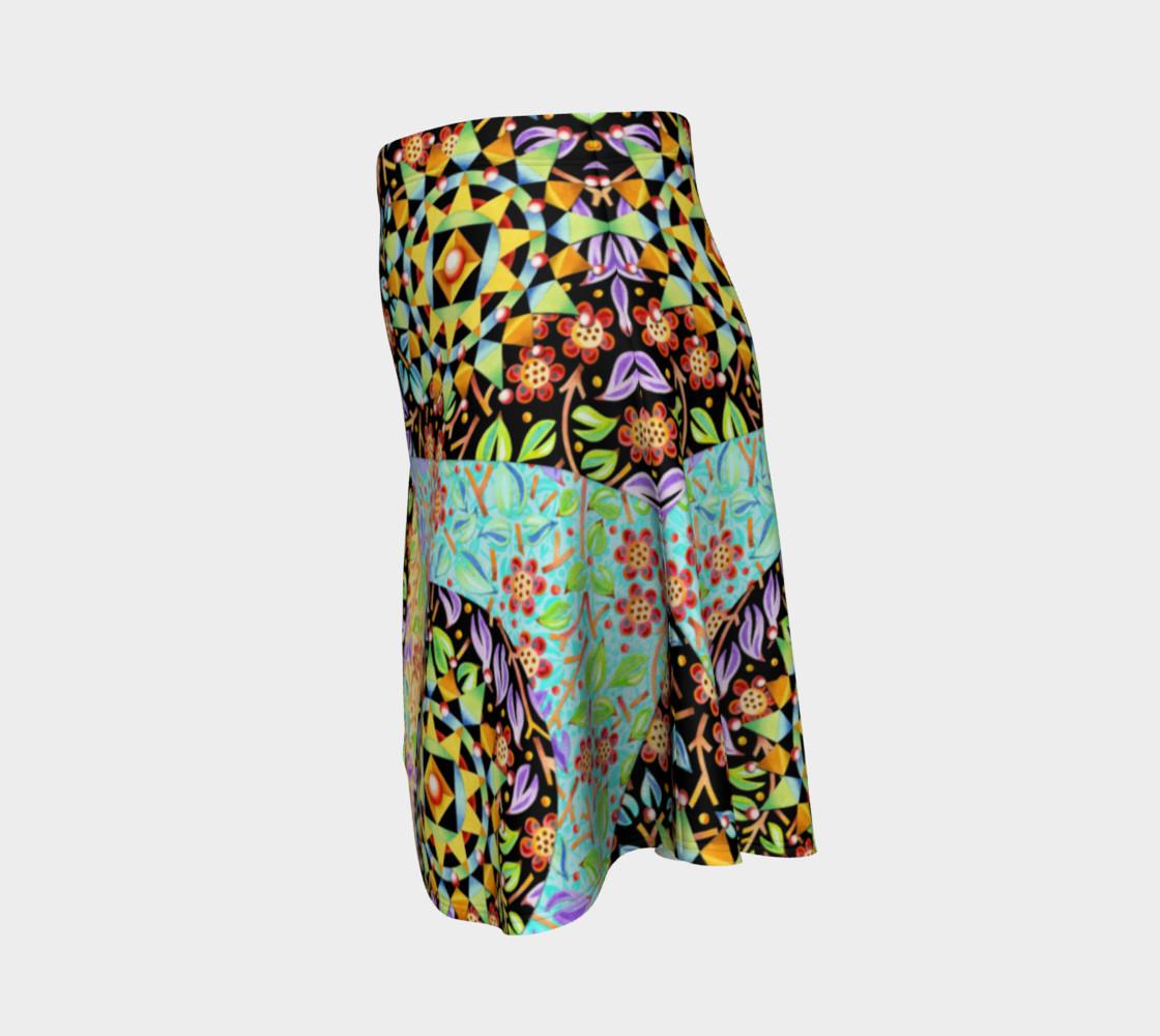 Aperçu de Filigree Floral Patchwork Flare Skirt 2 #2