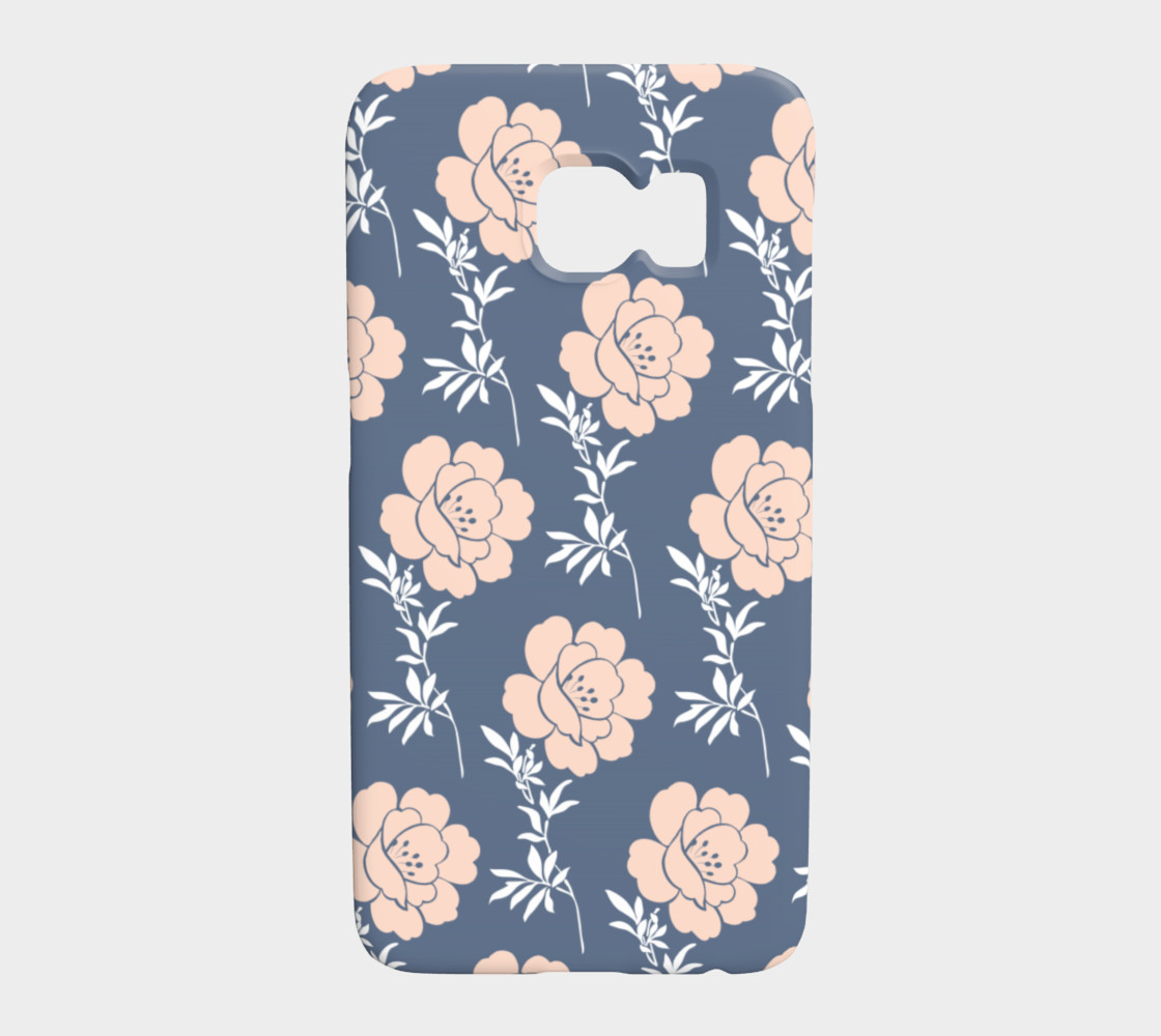 Pink and Blue Flowers on Blue Background preview #1