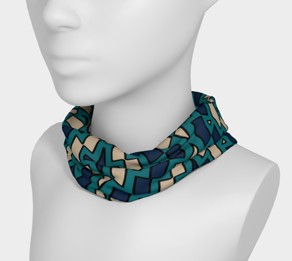 Tribal Diamond Pattern in Navy, Teal and Tan preview #3