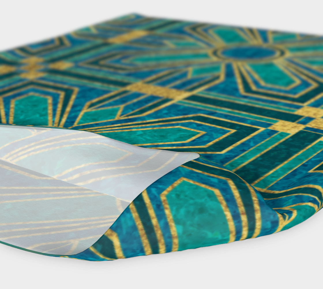 Art Deco Floral Tiles in Turquoise and Blue preview #4