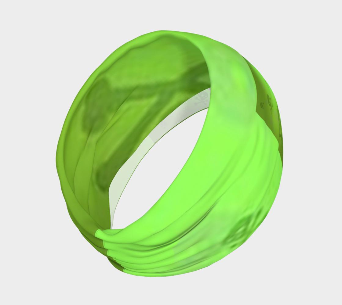 Cartoon Skull On Green Headband preview #2