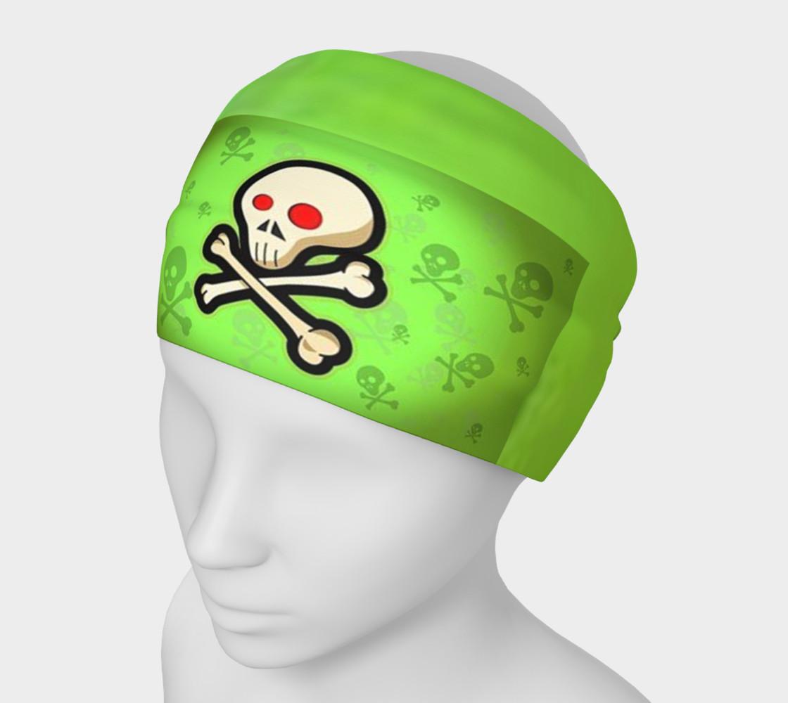 Cartoon Skull On Green Headband preview #1