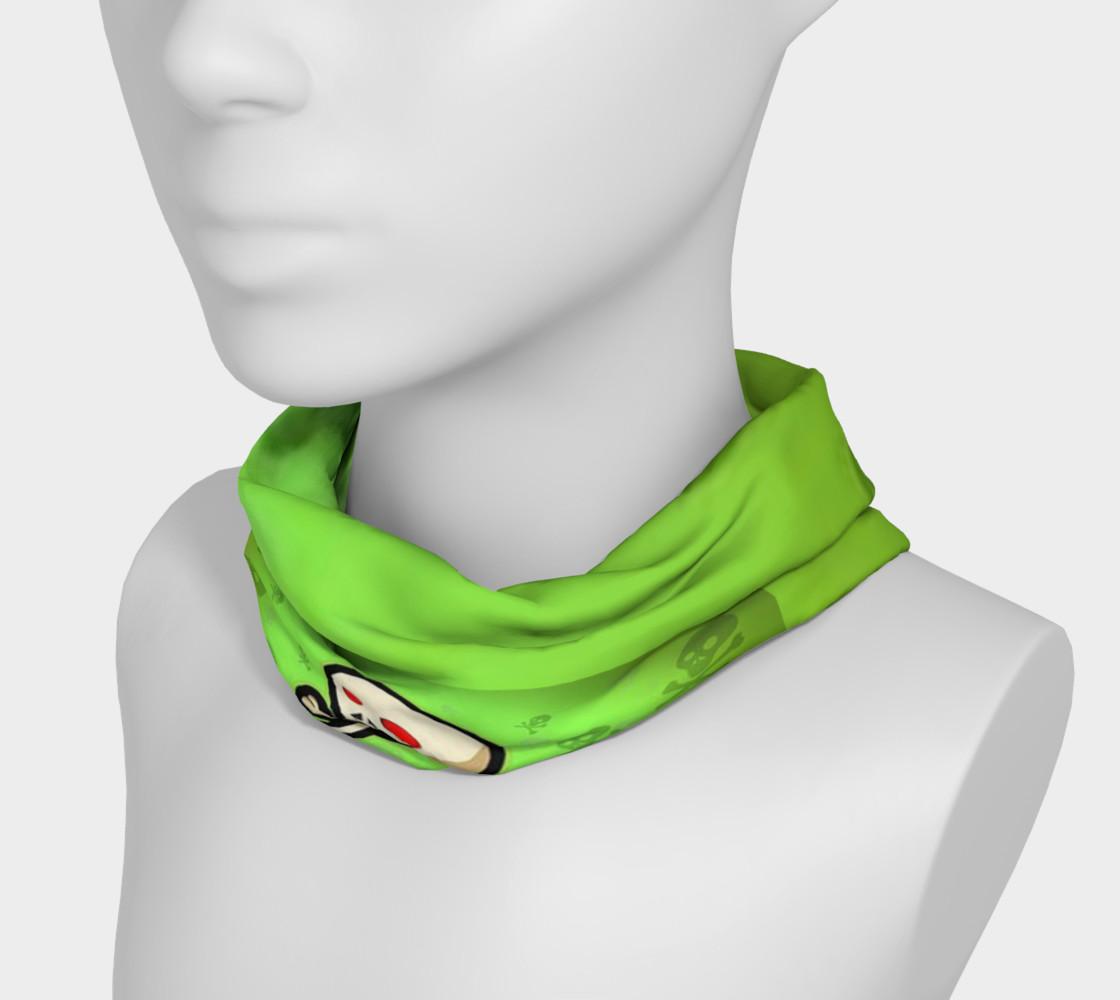 Cartoon Skull On Green Headband preview #3