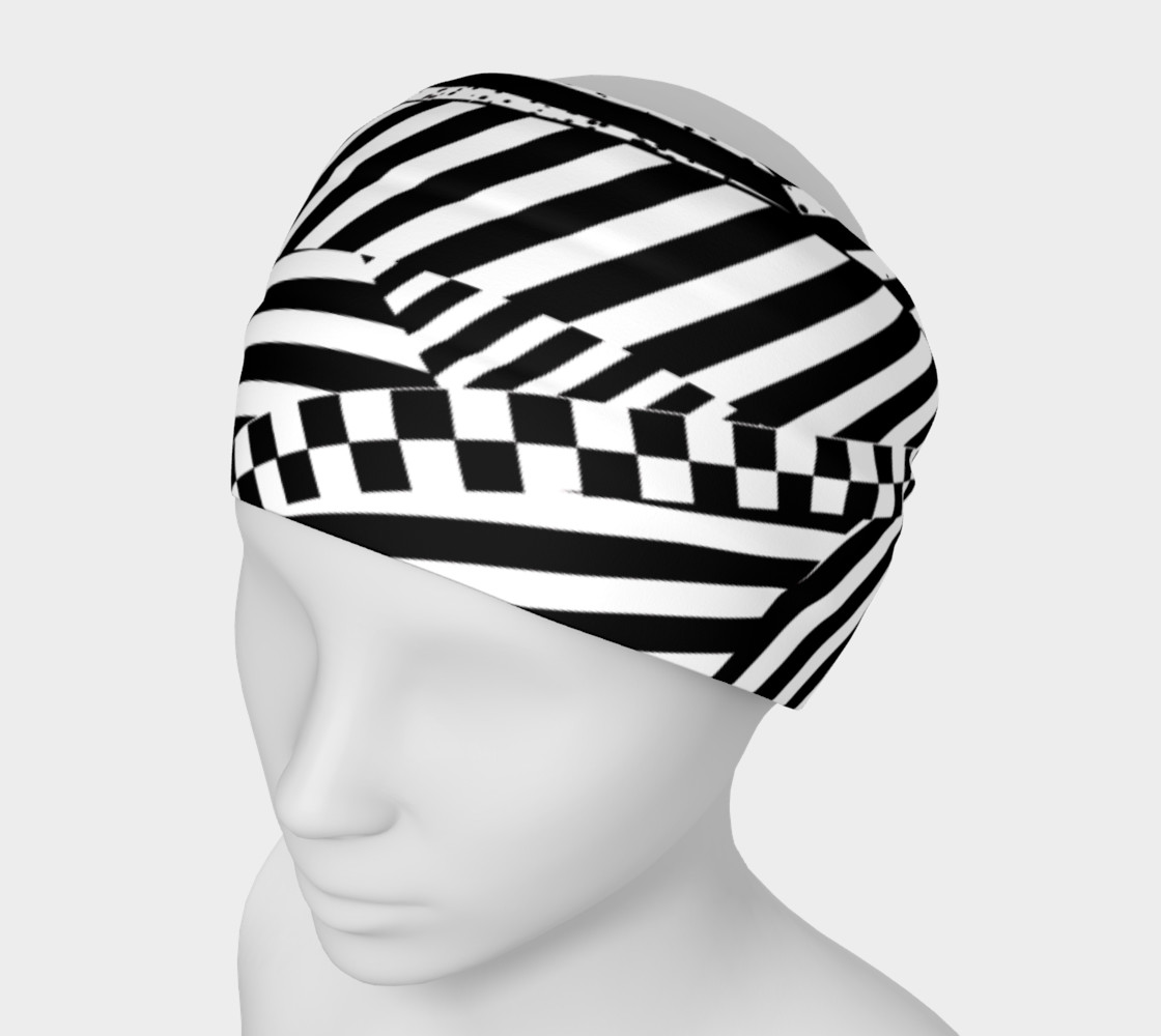 Black White Patchwork Stripes Checkerboard Headband preview #1
