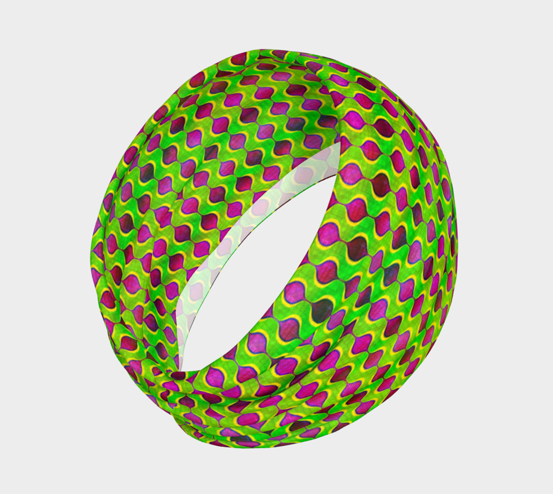 Fun Bright Green Purple Ogee Pattern Headband preview #2