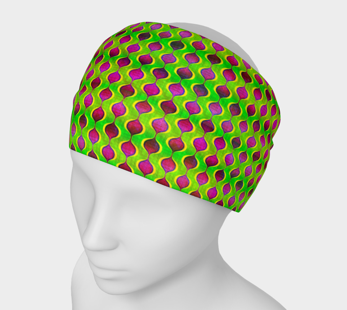 Fun Bright Green Purple Ogee Pattern Headband preview #1