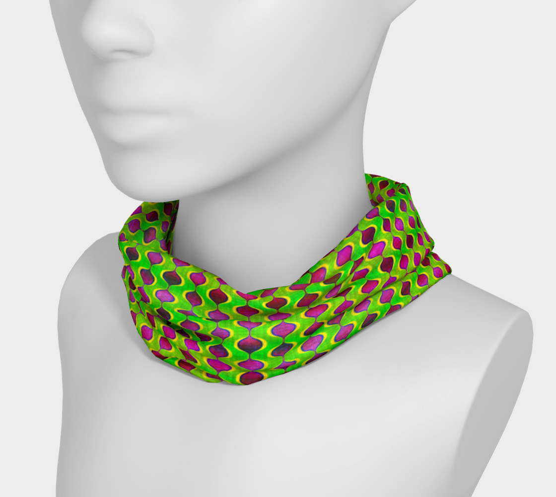Fun Bright Green Purple Ogee Pattern Headband preview #3