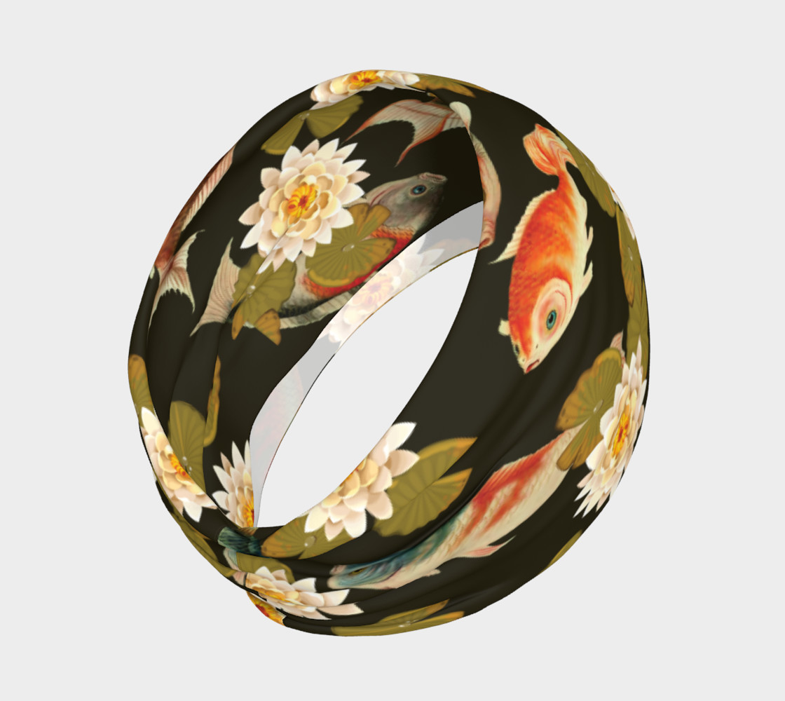 Koi & Lily Pads in Dark Water - Headband preview #2