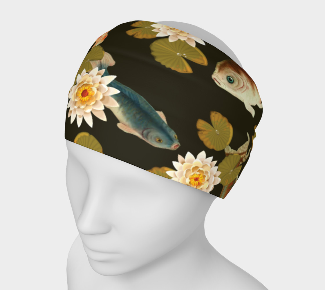 Koi & Lily Pads in Dark Water - Headband preview #1