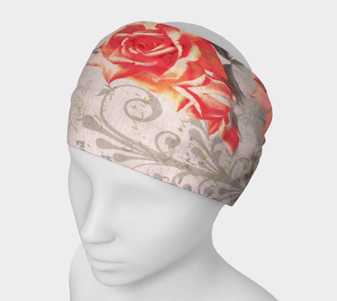 Aperçu de Vintage Red Grey Rose Floral Headband #1