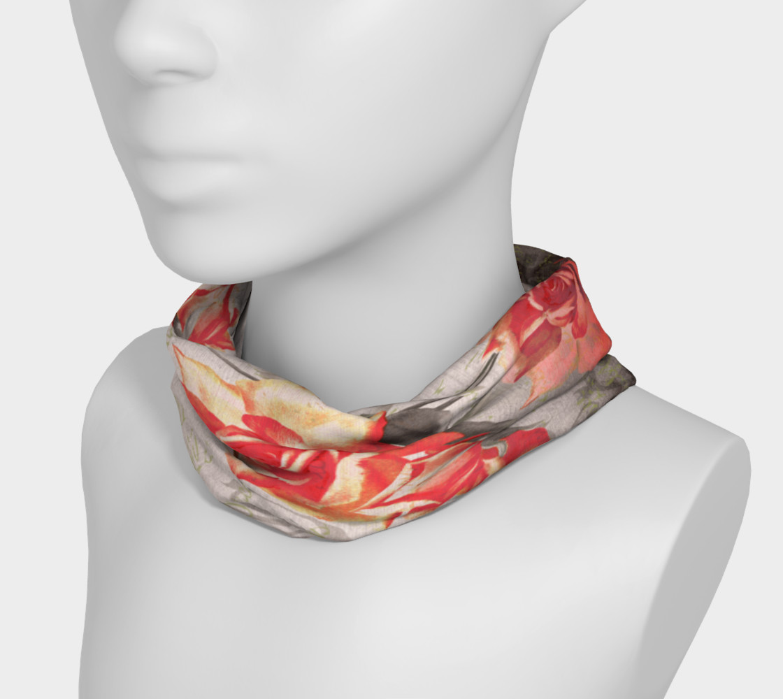 Aperçu de Vintage Red Grey Rose Floral Headband #3