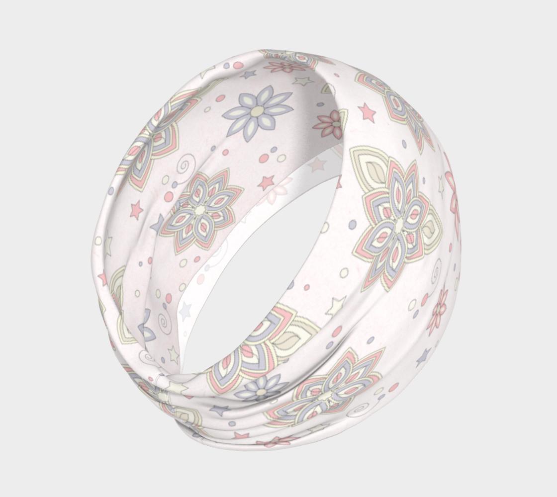 Aperçu de Pastel Pink Ivory Purple Abstract Flower Headband #2