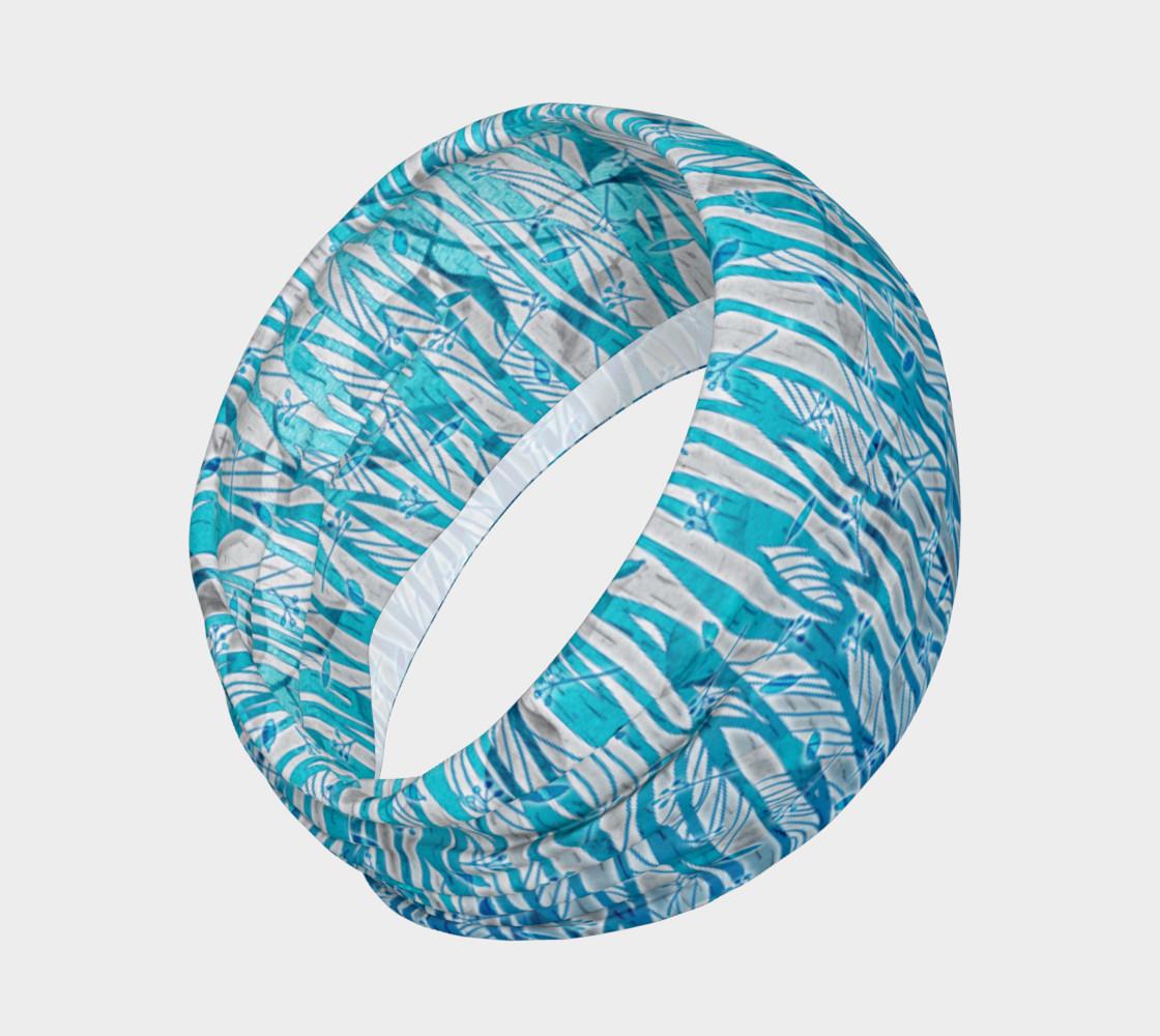 Aperçu de Blue Turquoise Silver Leafy Floral Headband #2