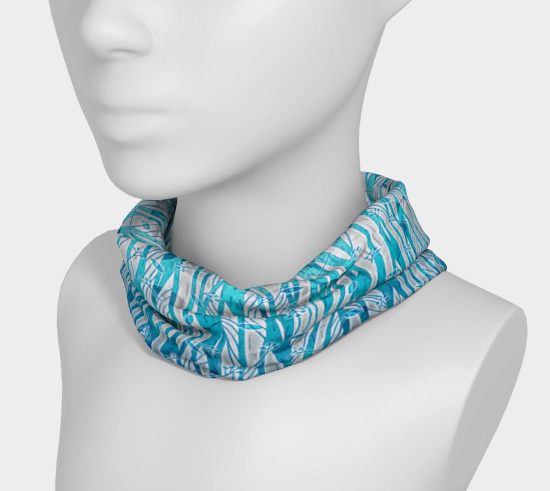 Aperçu de Blue Turquoise Silver Leafy Floral Headband #3