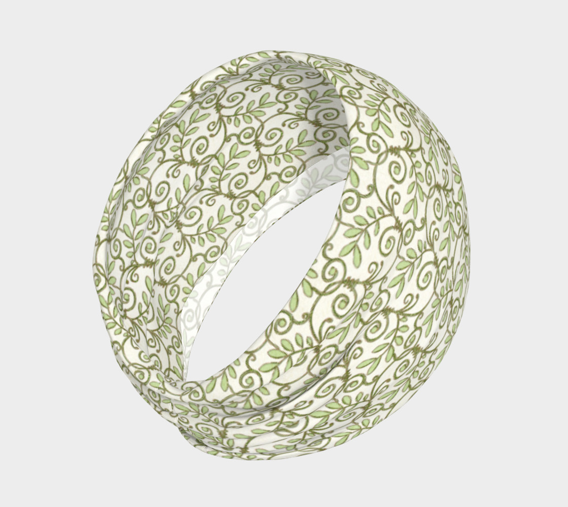 Green Cream Leafy Lace Floral Headband preview #2