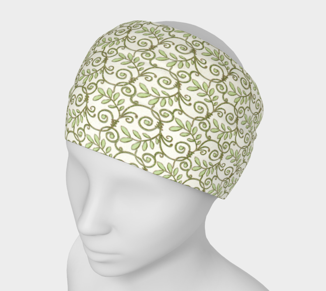 Green Cream Leafy Lace Floral Headband preview #1
