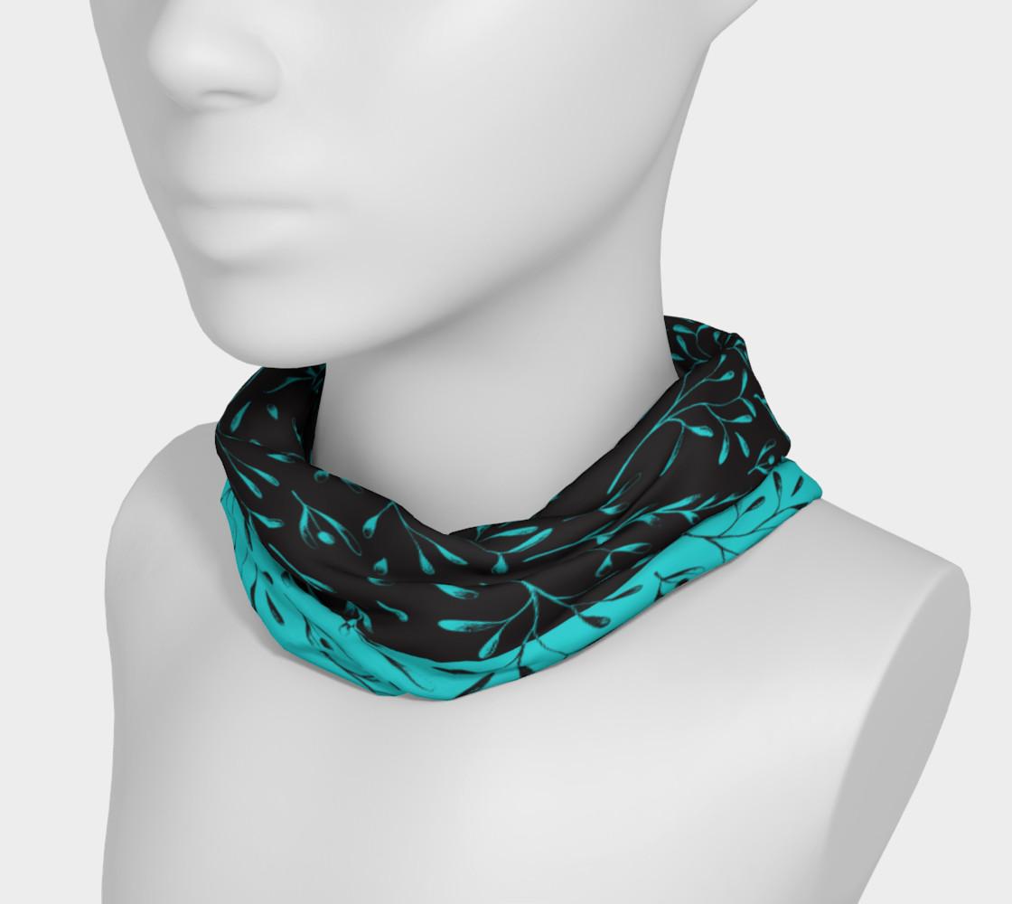Aperçu de Two Tone Turquoise Black Leafy Floral Headband #3