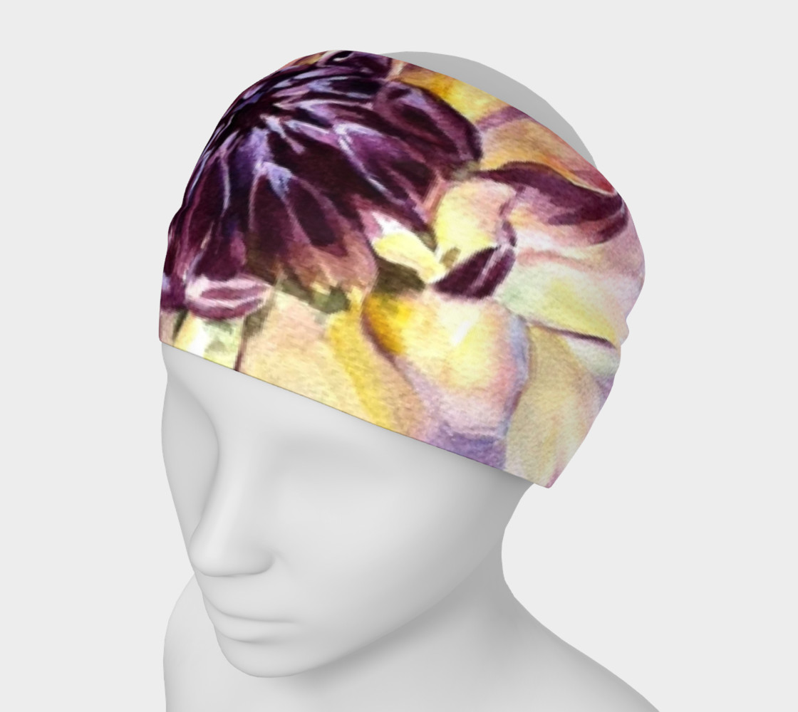 Purple Yellow Dahlia HeadBand preview #1