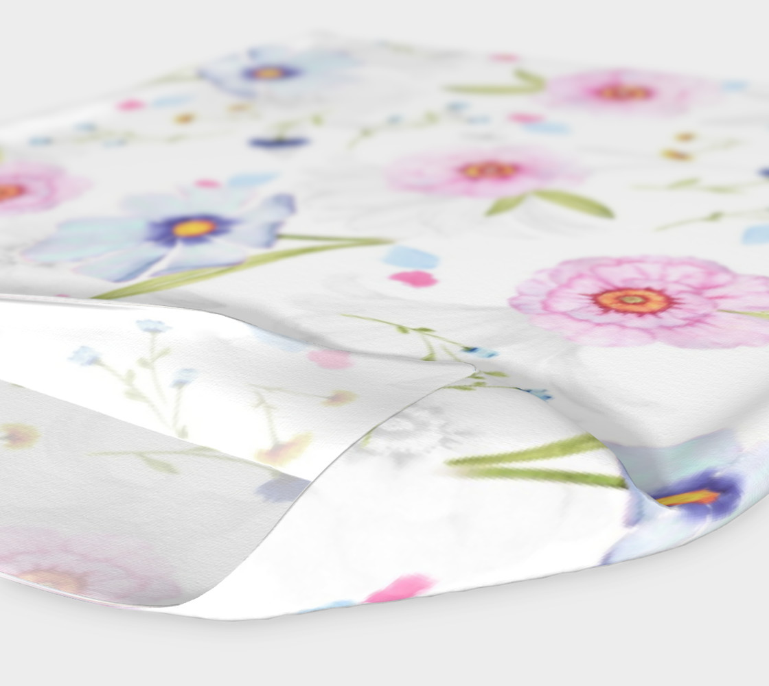 Pink and Blue Flowers on White preview #4