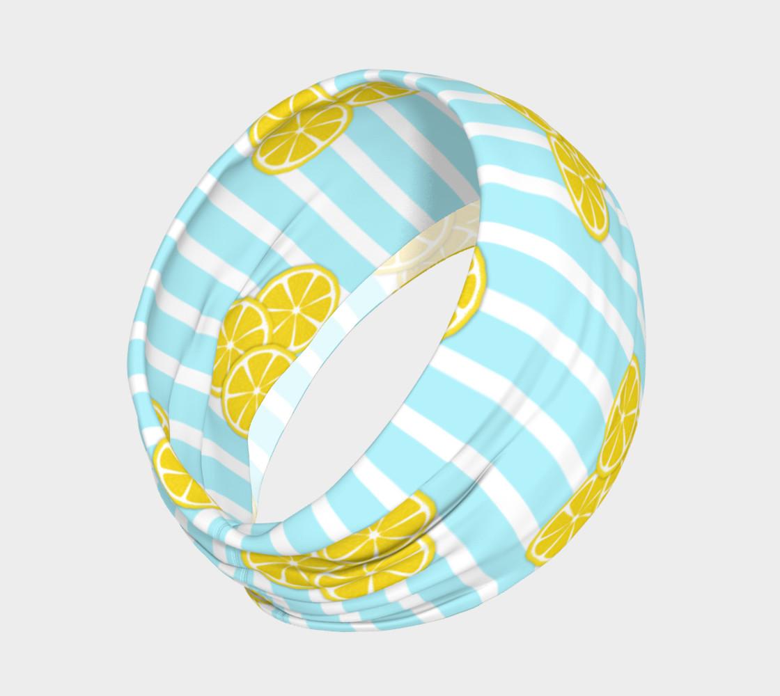 Lemon Slices on Light Blue Stripes preview #2