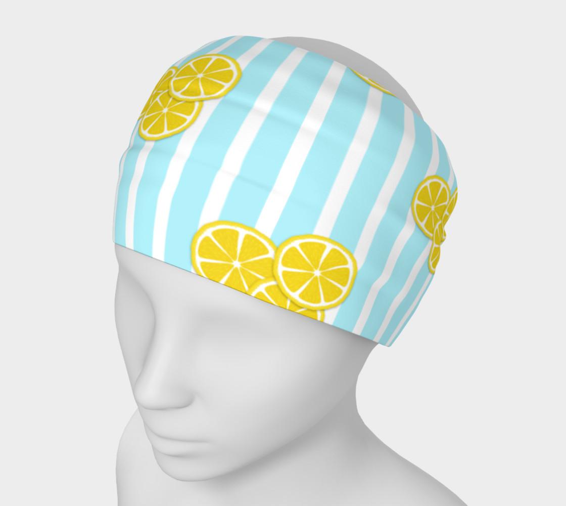 Lemon Slices on Light Blue Stripes preview #1