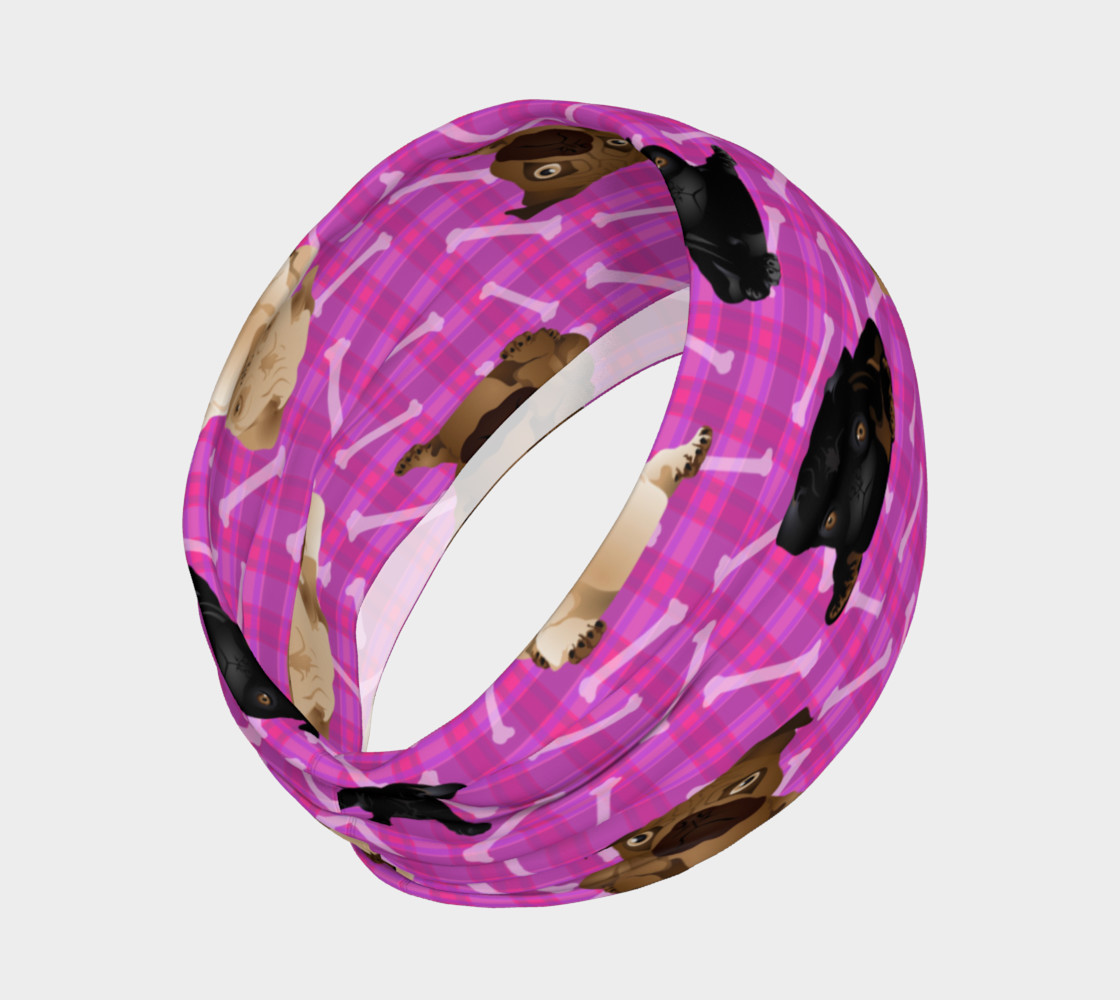Bright Pink Pug Headband preview #2