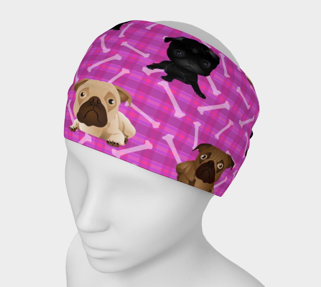 Aperçu de Bright Pink Pug Headband #1
