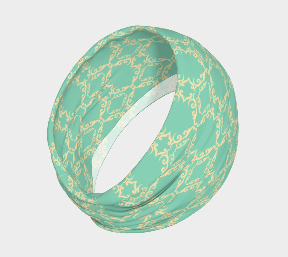 Teal and cream vintage head band preview #2