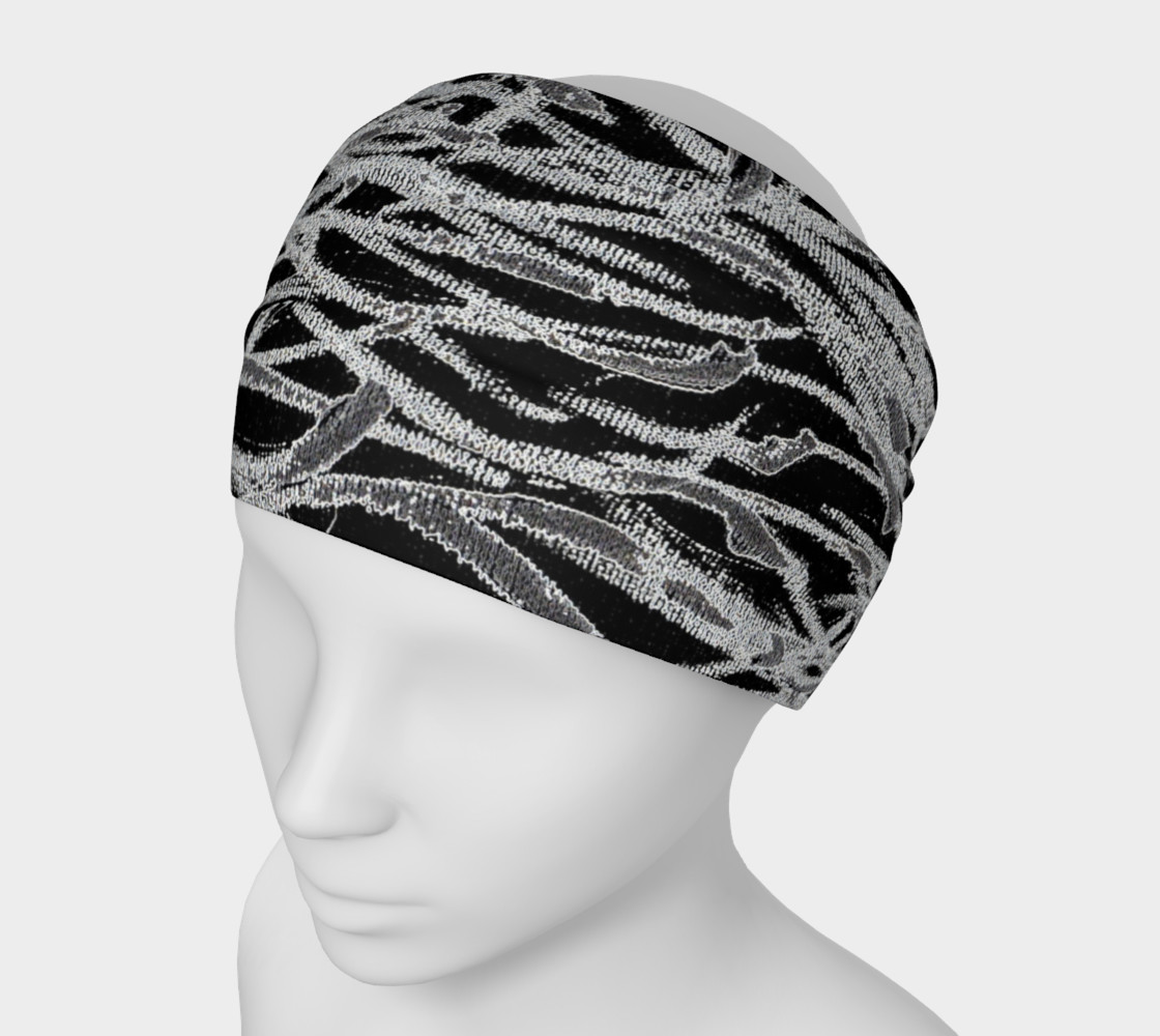 Black White Abstract Lines Headband preview #1