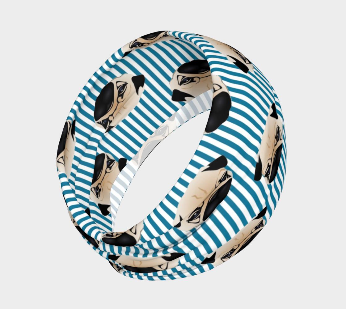 Aperçu de Pugs on Turquoise Stripes #2