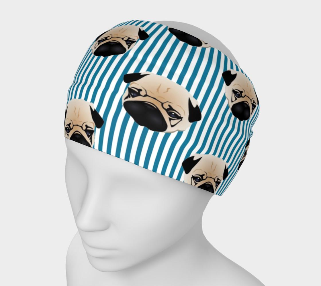 Aperçu de Pugs on Turquoise Stripes #1