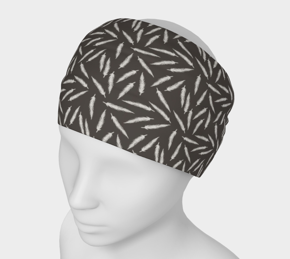 Rebel Feathers Grey Patterned Headband preview #1