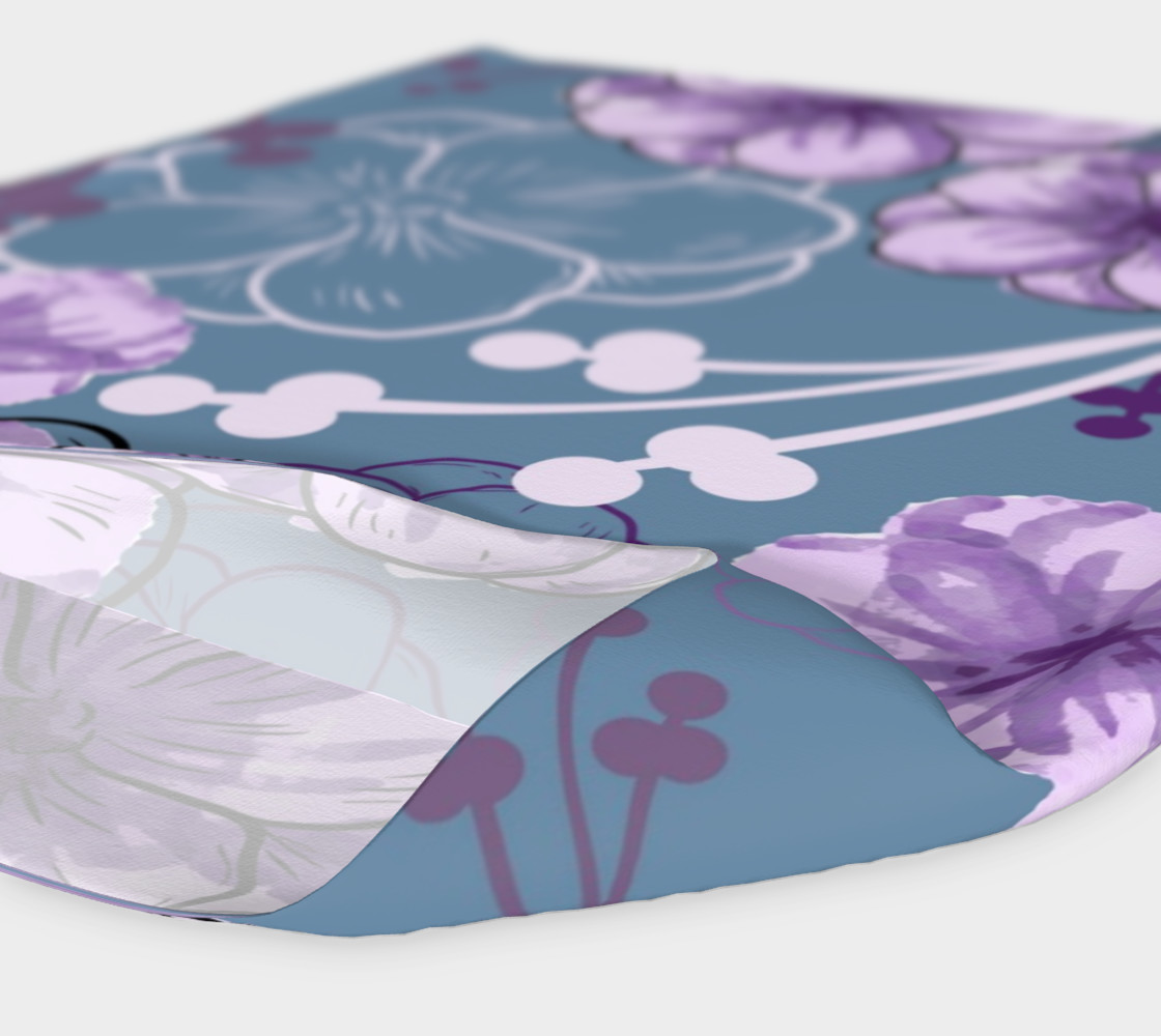 Spring Floral - Purple Flowers, Blue Background preview #4