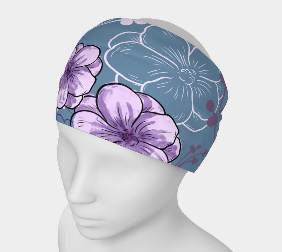 Spring Floral - Purple Flowers, Blue Background preview #1