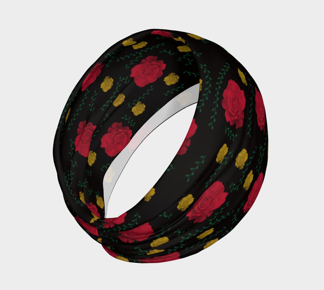 Aperçu de Roses on Black Headband #2