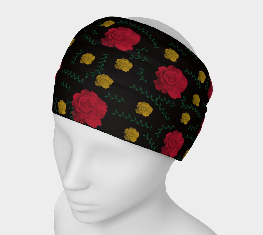 Aperçu de Roses on Black Headband #1