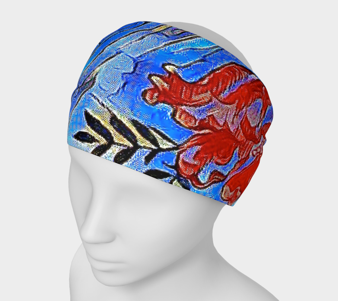red flower head band 3D preview