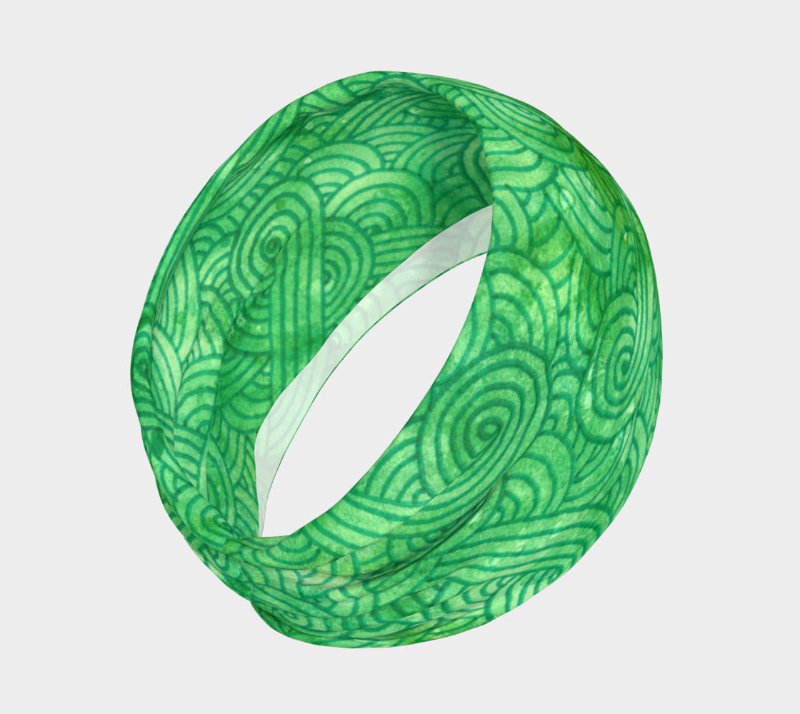 Green swirls doodles Headband preview #2