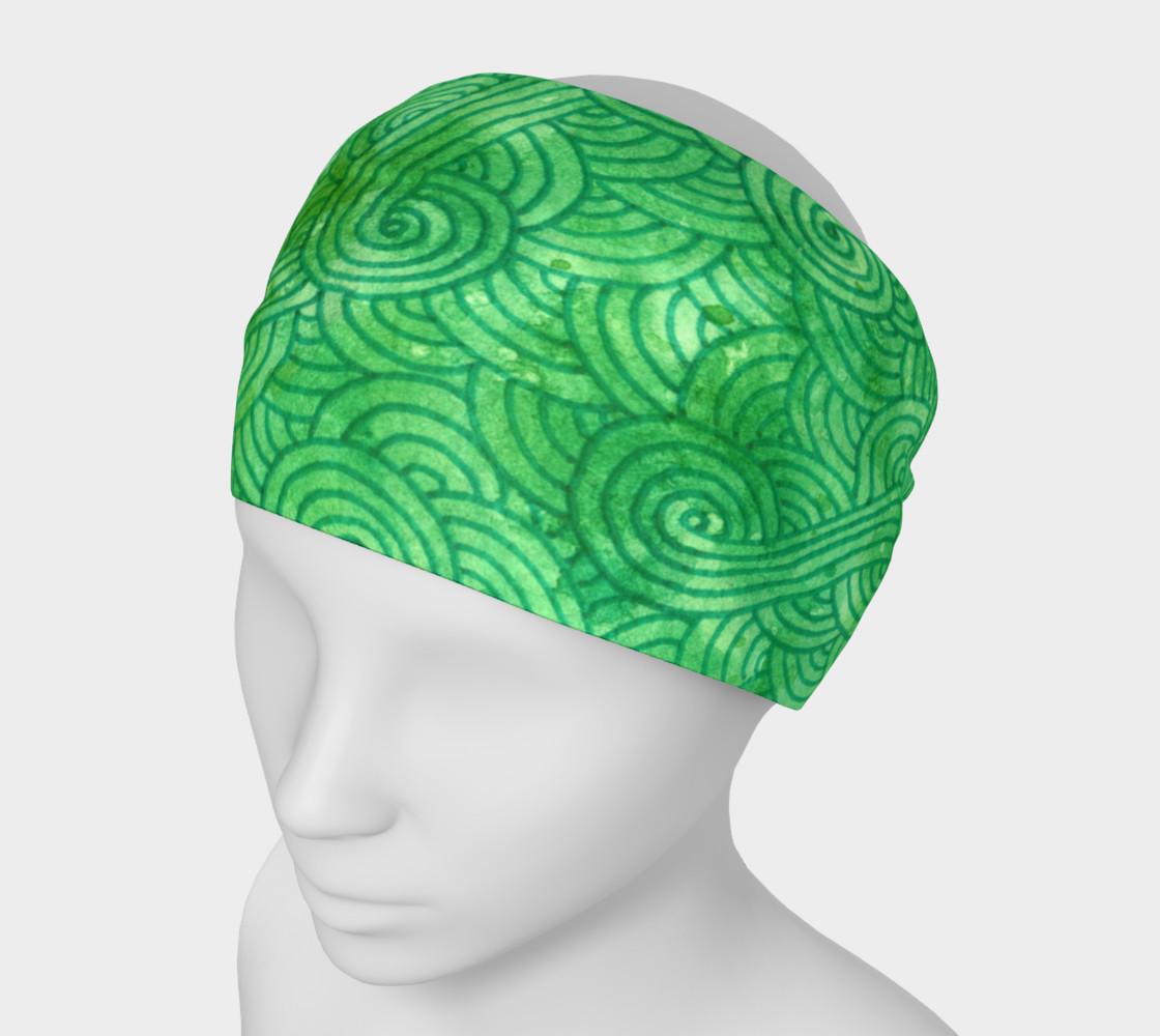 Green swirls doodles Headband preview #1