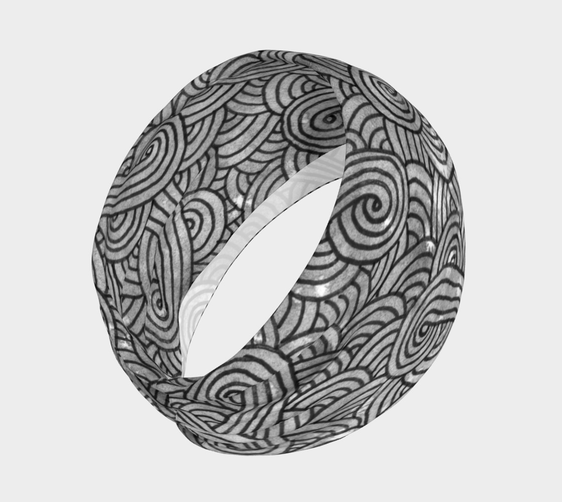 Grey and black swirls doodles Headband preview #2