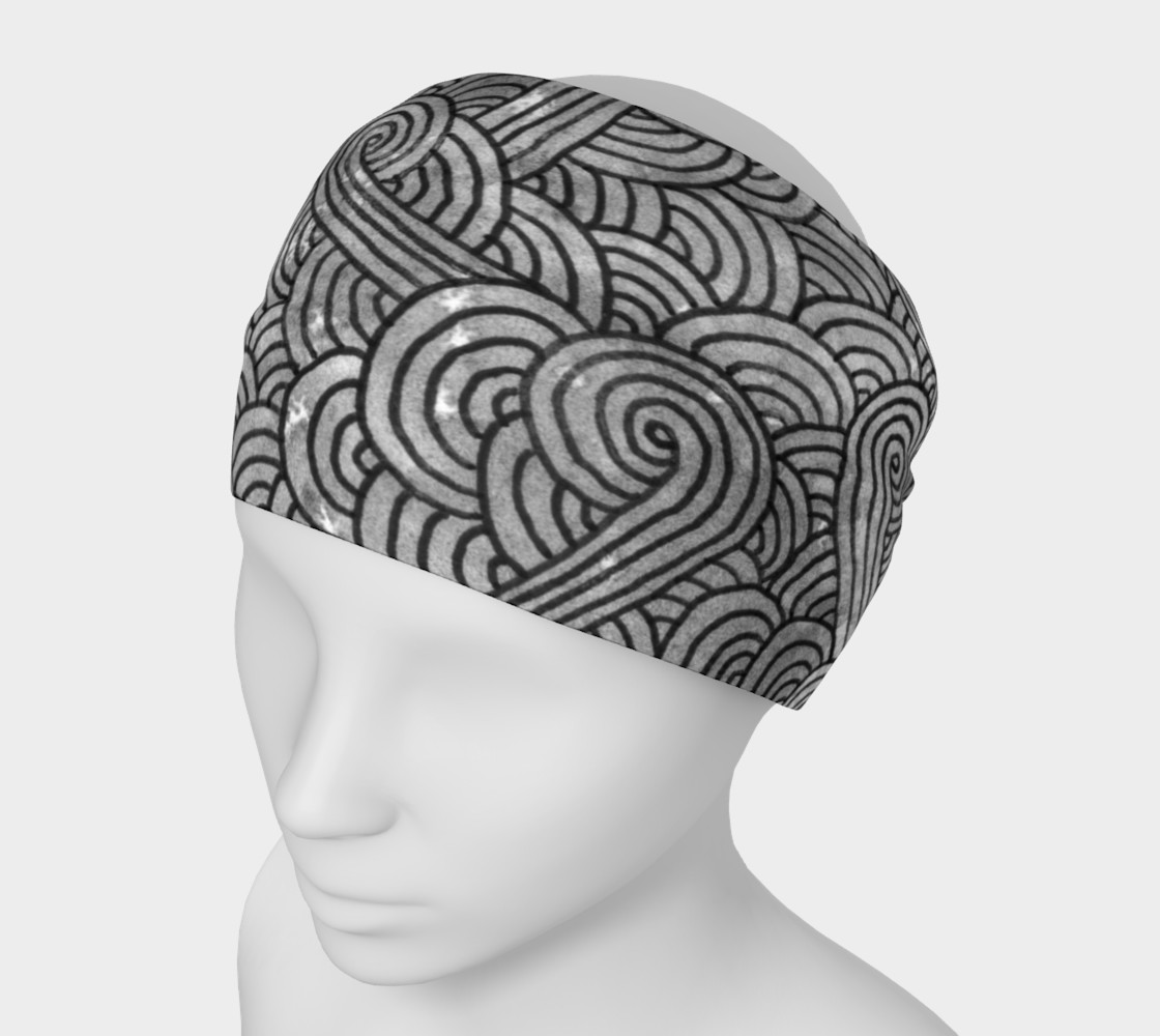 Grey and black swirls doodles Headband preview #1