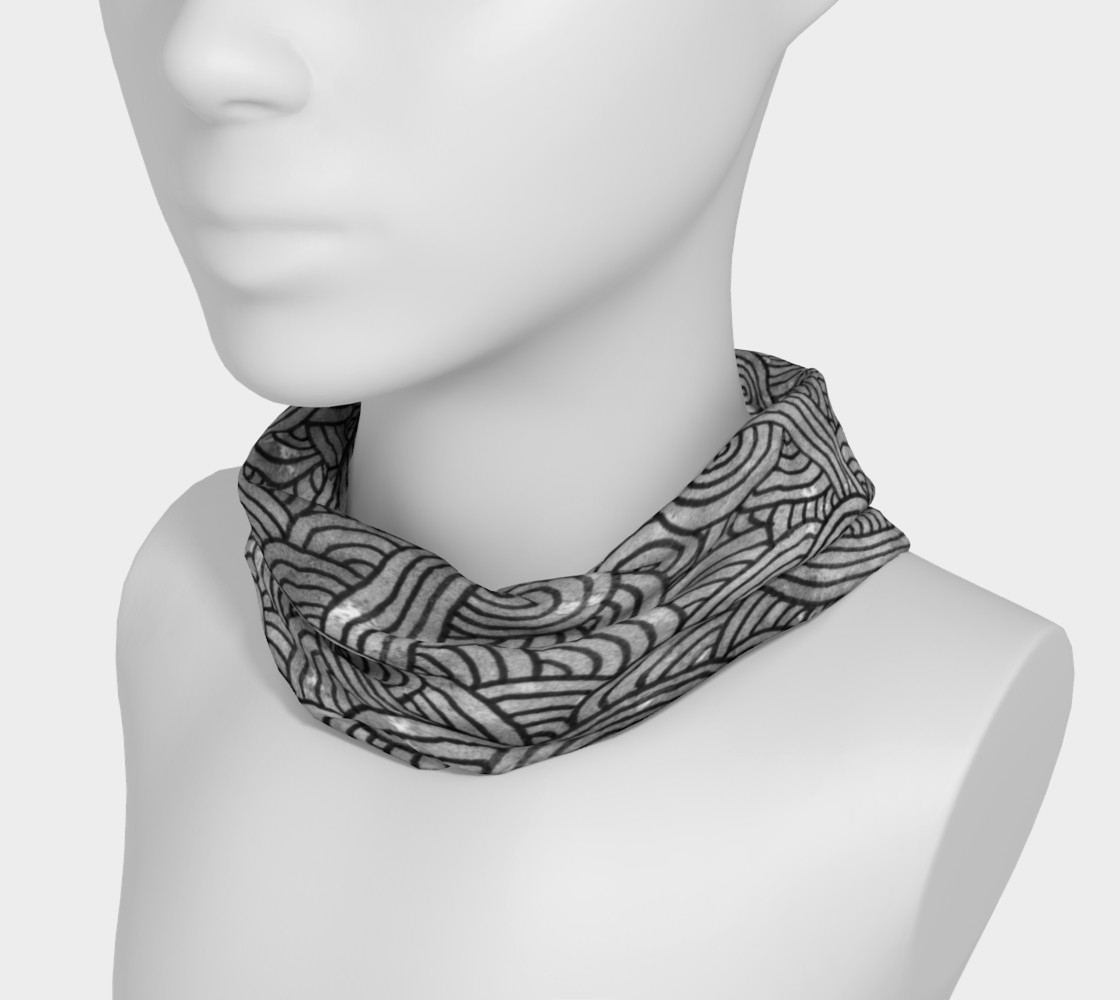 Grey and black swirls doodles Headband preview #3