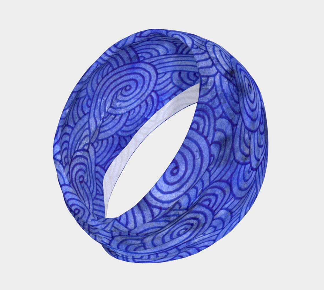 Aperçu de Royal blue swirls doodles Headband #2