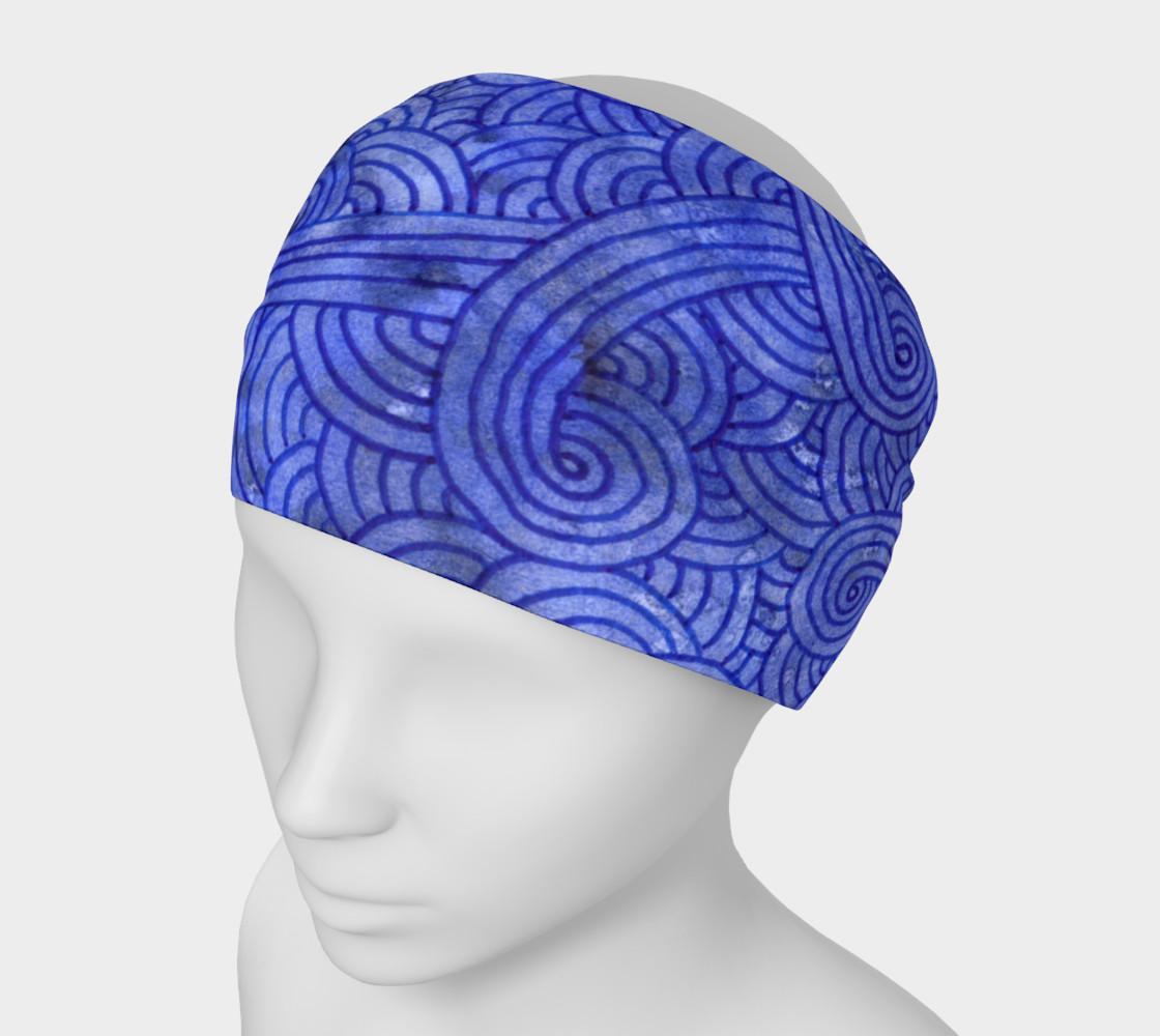 Aperçu de Royal blue swirls doodles Headband #1