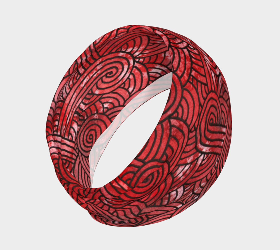 Aperçu de Red and black swirls doodles Headband #2