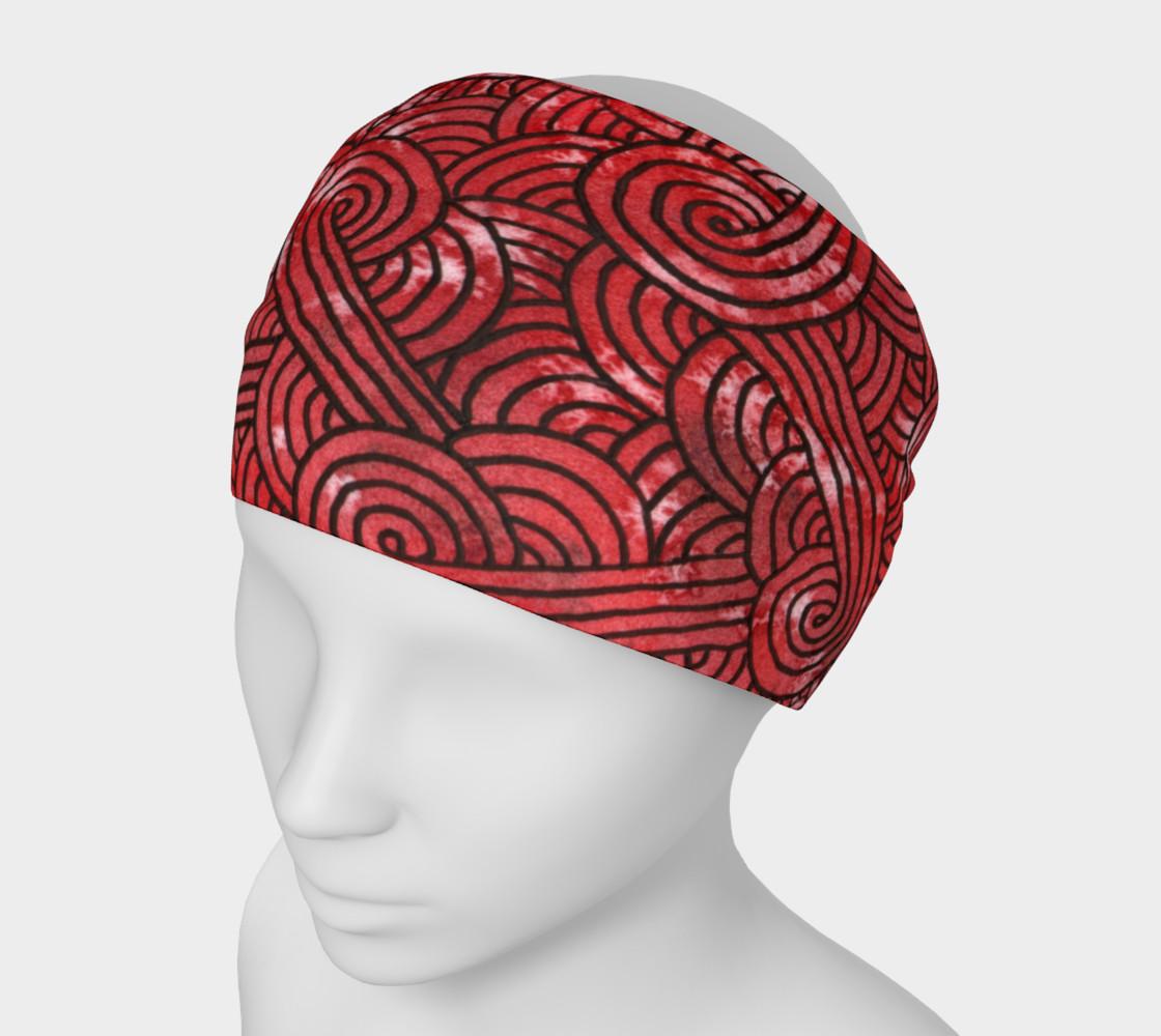 Aperçu de Red and black swirls doodles Headband #1