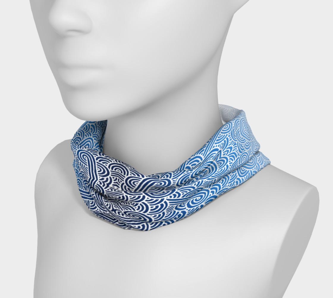 Aperçu de Ombre blue and white swirls doodles Headband #3