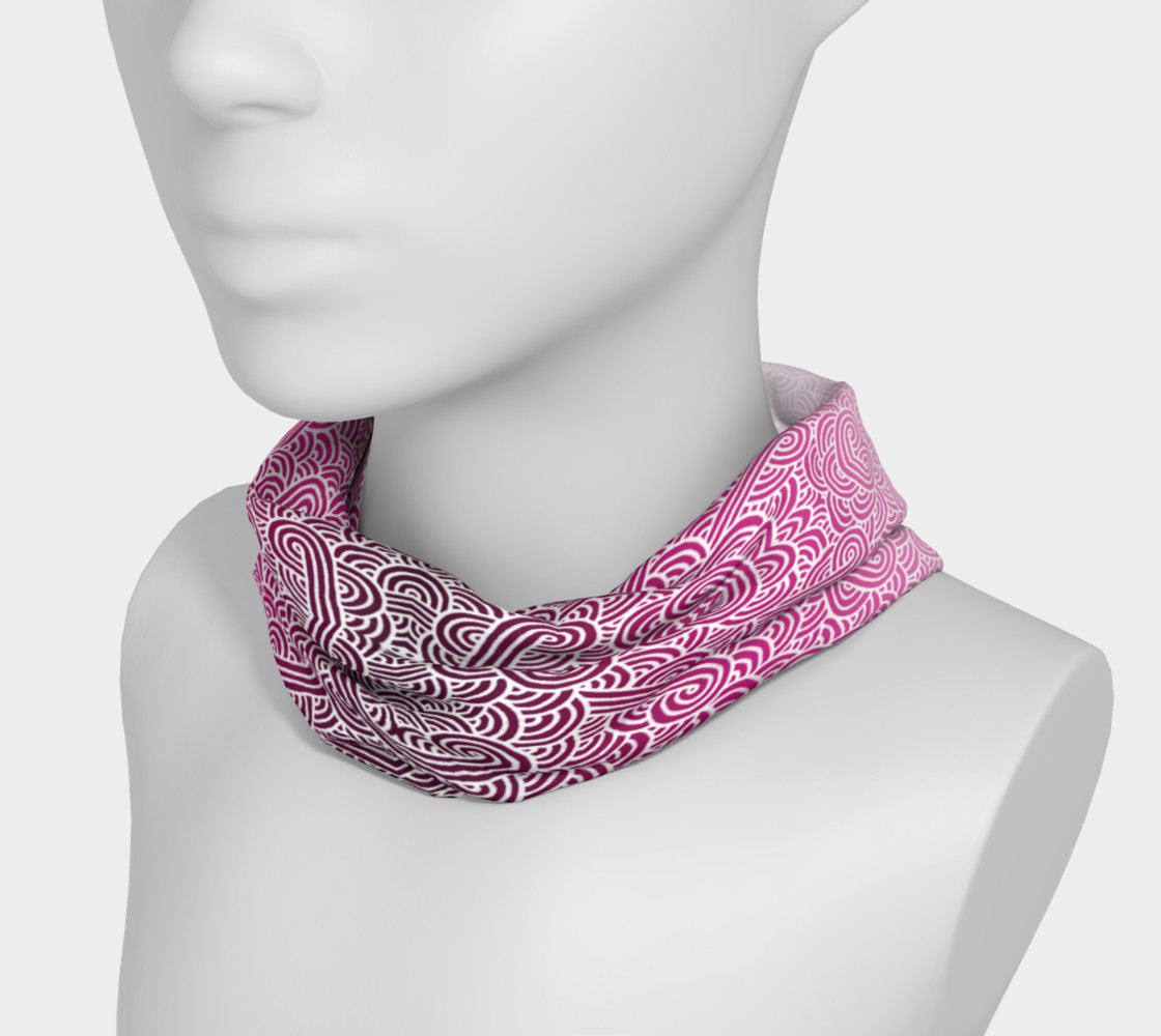 Ombre pink and white swirls doodles Headband preview #3