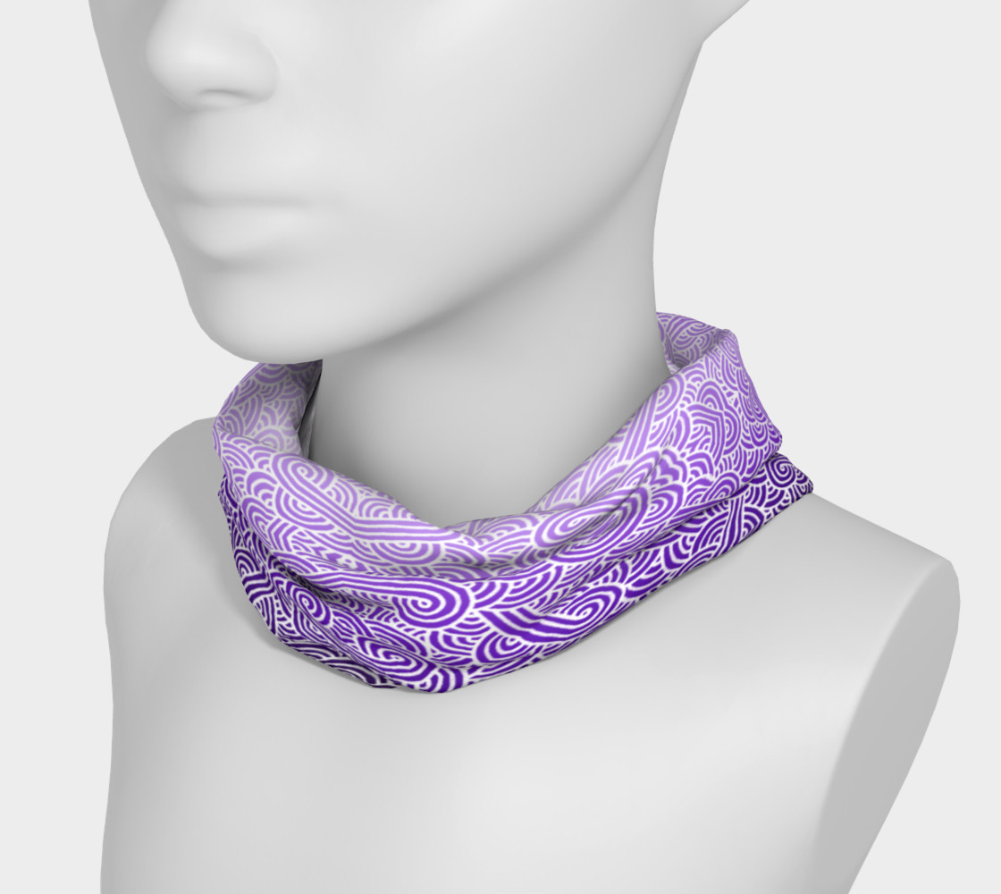 Ombre purple and white swirls doodles Headband preview #3