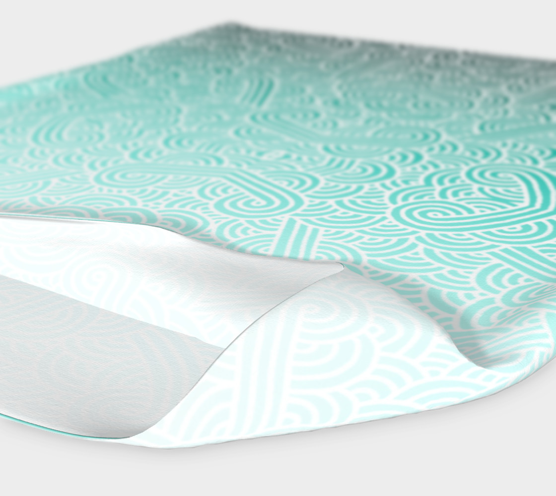 Ombre turquoise blue and white swirls doodles Headband preview #4